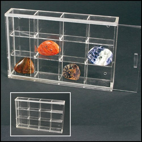 Acrylic Glass Display Case for Rocks, Minerals, Thimbles & Figurines-12 Compartments (Rock Display Glass compare prices)