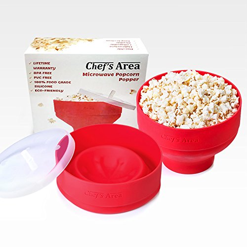 NEW - Best Silicone Microwave Popcorn Popper / Popcorn Maker, Red Collapsible Popcorn Bowl with lid for home - BPA free - for Healthy Homemade Butter & Oil-Free Recipes - by Chef's Area (Joy Time Popcorn compare prices)