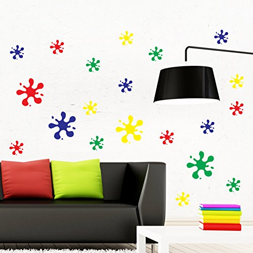 Paint Splats x 20 Coloured Wall Sticker Pack. Self Adhesive Vinyl Decorations For Children