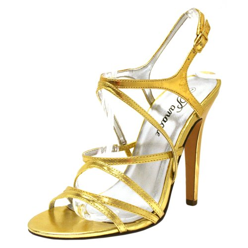 Gold Patent Leather Strappy Sandal Pumps Shoe Size 7