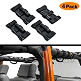 Jeep Wrangler Roll Bar Grab Handles,AnTom Heavy Duty Unlimited Wrangler Roll Bar Strong Durable, Easy to Fit 3 Straps Design, Fits 1955-2017 Models JK JKU CJ CJ5 CJ7 YJ TJ (Pack of 4)