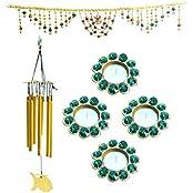 Kriti Creations Traditional Door Bandanwar With Windchime And Metal Diyas Combination Pack