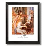 Renoir Two Girls At The Piano Home Decor Wall Picture Black Framed Art Print