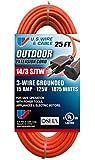 US Wire 63025 14/3 25-Foot SJTW Orange Medium Duty Extension Cord