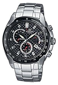 CASIO EF-521SP-1AVEF Edifice - Reloj para niños de cuarzo, correa de acero inoxidable color negro (con cronómetro)