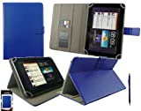 Emartbuy® Blue Dual Function Stylus + Universal Range ( 8 - 9 Inch ) Blue Multi Angle Executive Folio Wallet Case Cover With Card Slots Suitable for Argos Bush MyTablet2 8 Inch