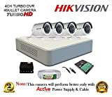 Hikvision DS-7104HGHI-F1 Mini 4CH Dvr, 4(DS-2CE16C2T-IRP) Bullet Cameras (With Mouse, 500GB HDD, Bnc&Dc Connectors,Power Supply,Cable )
