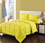 Tache 4 Piece 100% Cotton Solid Yellow Quilted Comforter Set -King
