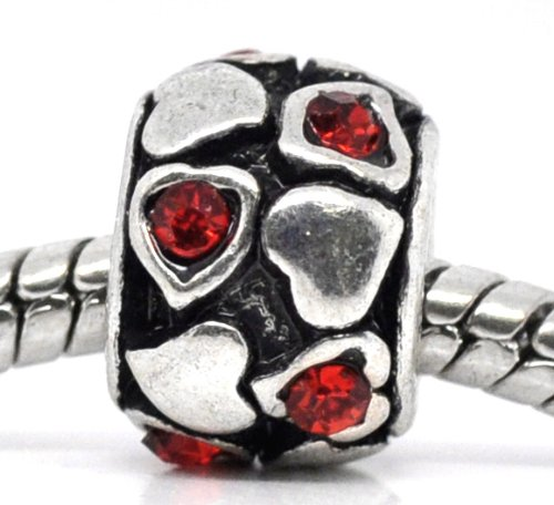 Believe Beads © 1 X Red Stone Hearts and Plain Hearts Charm Bead fits Pandora/Troll/Chamilia style Bracelets. Perfect for a Valentines Day Gift!