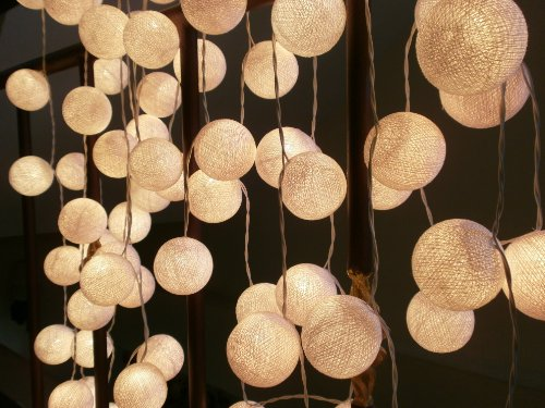 35 White Cotton Balls Patio Party String Lights (35 Balls/Set) By I Love Handicraft Brand