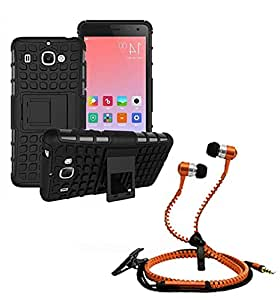 Hard Dual Tough Military Grade Defender Series Bumper back case with Flip Kick Stand for Samsung S7 + Stylish zipper hand free for all smart phones by Carla Store