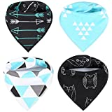Baby Bandana Drool Bibs With Snaps For Drooling And Teething Extra Absorbent Organic Cotton Modern 4 Pack Gift...