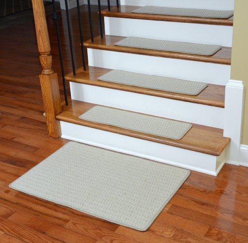 Premium Wool Carpet Stair Treads - Melrose Linen (13) PLUS a Matching 2' x 3' Landing Mat