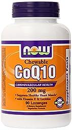 NOW Foods Coq10 200mg & Vit E, 90 Lozenges