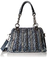 MG Collection Studded Blue Denim Convertible Shoulder Bag