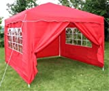 Airwave 3x3mtr Red Pop Up Gazebo, FULLY WATERPROOF, INCLUDES WindBar and 4 Sides and Bag Included.