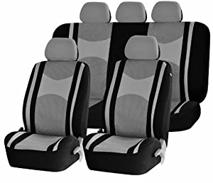 Universal Car Seat Cover Full Set Front Airbag Airbags Ready & Rear Split 40/60 50/50 60/40 Gray / Black SC-104GR from UNIQUE AUTOMOTIVE ACCESSORIES