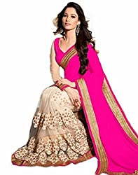 Priyam Creation New Designer Pink color Georgette Net fancy Party Wear Saree With Blouse Piece.