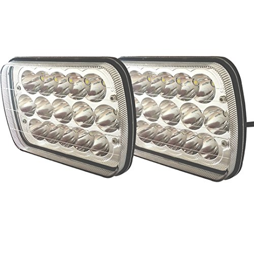 TURBO SII 86-95 Jeep Wrangler JK YJ CJ TJ MJ XJ Rectangular 7x6 Inch LED Headlights Bulb Sealed Beam H6014 H6052 H6053 H6054 Projector lens For Freightliner Peterbilt International Mack 2PCS (Jeep Yj Turbo Kit compare prices)