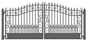 ALEKO® Venice Style Iron Wrought Gate 12' High Quality Driveway Gates Ornamental Dual Swing Gates 12'