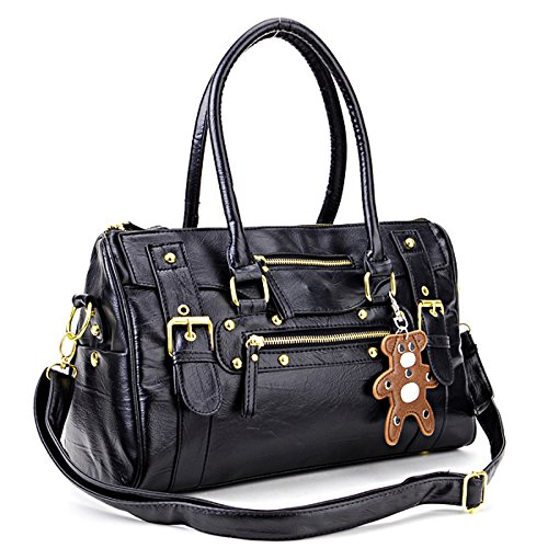 Jambo Casual Girls Lady Woman PU Leather Fashional Style Tote Handbag Business Messager Shoulder Bag Black With Bear Medallion