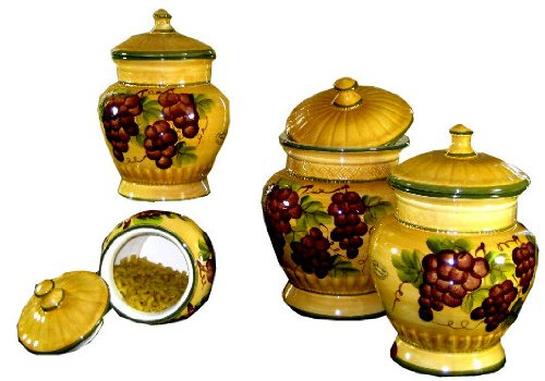 tuscan kitchen canister sets tuscany grape 4 piece