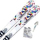 スワロー(SWALLOW) 4点セット ジュニアスキー SNOW PAZZLE ストック付き ブーツ付き (スキー板110cm/ストック90cm, ブーツ18cm)