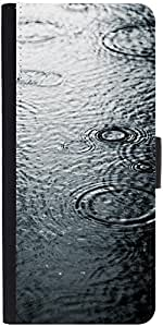 Snoogg Water Droplets Graphic Snap On Hard Back Leather + Pc Flip Cover Samsu...