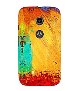 ARTISTIC PAINTED MULTICOLOURED CANVAS PATTERN 3D Hard Polycarbonate Designer Back Case Cover for Motorola Moto E2 :: Motorola Moto E (2nd Gen)
