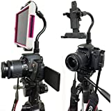 "ChargerCity Exclusive DSLR Hot Shoe Flash Camera Adapter Mount for Apple ipad Mini Retina (1st, 2nd & 3rd Generation) Samsung Galaxy Tab 2 3 4 5 Note Dell Venue Pro Toshiba Encore Lenovo IdeaTab Asus Memo Pad 6 7 8 w/360º Swivel Adjust Video recording 1/4""-20 Bendy tripod Stick (8"" Long) & Mini Tablet Holder (Expand up to 5.5"") *Use Both DSLR Camera & Selfie Record see yourself simultaneously*"