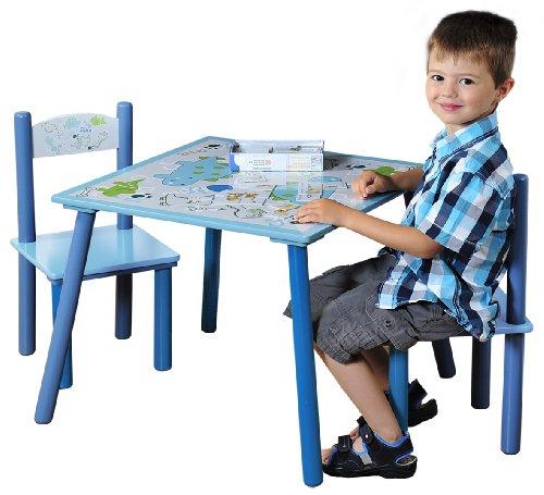 17721 1 Kindertisch mit 2 Stühlen, Motiv: Dino, MDF farbig lackiert, FSC