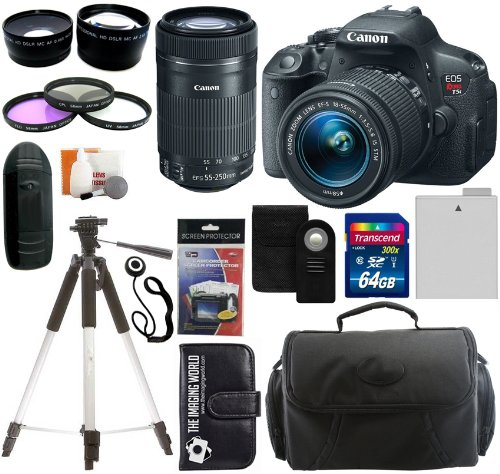 Canon Eos Rebel T5I Digital Camera Slr Kit With Canon Ef-S 18-55Mm Is Ii Stm Lens + Canon Ef-S 55-250Mm F/4.0-5.6 Is Stm Autofocus Lens + 64Gb Card And Reader + Wide Angle And Telephoto Lenses + Tripod + Battery + Filters + Accessory Kit