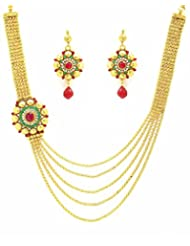 Zaveri Pearls Exquisite Floral Five Layered Necklace Set-ZPFK3435