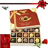 20pc Decadent Truffle Box With Rose And Card - Chocholik Belgium Chocolates
