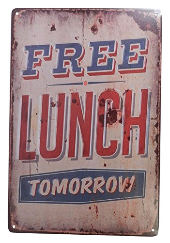 Free Lunch Tomorrow Funny Tin Sign Bar Pub Garage Diner Cafe Home Wall Decor Home Decor Art Poster Retro Vintage (Wall Decor For Restaurant compare prices)