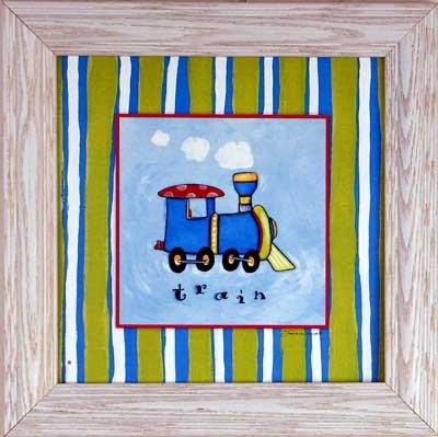 Train Boys Room Decor Art Stripes Framed Print Picture front-412980