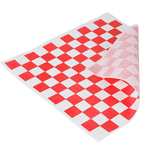 1000 Pack - Food Basket Liner - Deli Sandwich Wraps - Checkered (Red) (Paper Liners For Food Baskets compare prices)