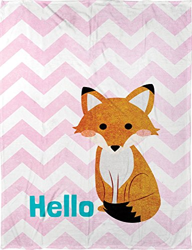 Manual Hello Fox Lightweight Pink Chevron Dyed Plush Fleece Nursery Blanket Throw SAHFOX 30x40""