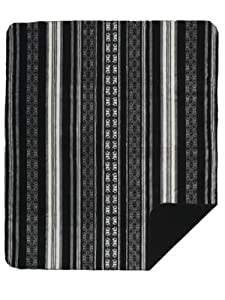 Denali Home Collection by Monterey Mills 60-Inch by 70-Inch Denali Double-Sided MicroPlush Throw, Black Stripe/Black