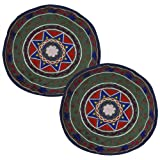 Suzani Flower Embroidered Round Cotton Cushion Cover 18 Inches 2 Pcs