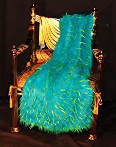 Faux Fur Throw Blanket - Rugs Two Tone Spiked Turquoise on Lime 36 Inch By 60 Inch