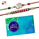 #9: Maalpani Rakhi And Chocolate - Two Jewel Daimond Om N Fancy Bead Rakhi With Cadbury Celebration Pack 224