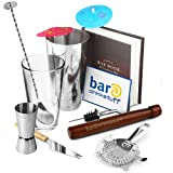 Cocktail Starter Pack by bar@drinkstuff | in Recyclable Box with Boston Cocktail Shaker, Ultimate Bar Book, Muddler, Cocktail Strainer, Bar Knife, Twisted Mixing Spoon, Stainless Steel Pourer, 24x Cocktail Umbrellas & Jigger Measure | Great Kit!by bar@drinkstuff