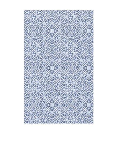 Huella deco Alfombra Bañada en Vinilo Azul
