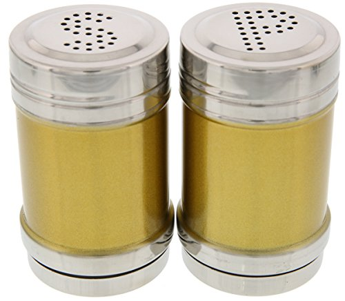 Stainless Steel Salt and Pepper Shakers - Gold Salt and Pepper Shakers - 3 Inch Shakers (Wildlife Salt And Pepper Shakers compare prices)