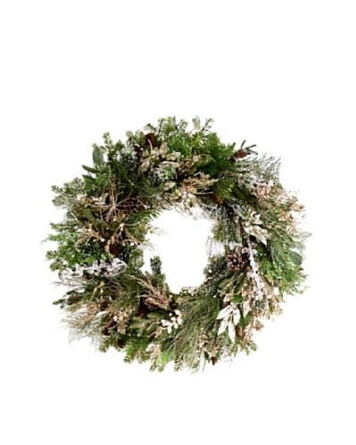 Winward 36 Hand-Crafted Gatsby Wreath, Green/Platinum