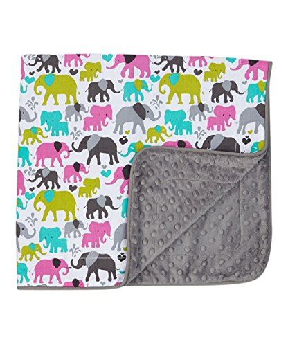 Baby Girl Blanket in Elephants on Gray Dimple Dot Minky - Great Travel Blanket - 1
