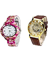 COSMIC COMBO WATCH- COLORFUL STRAP ANALOG WATCH FOR WOMEN AND BROWN ANALOG SKELETON WATCH FOR MEN