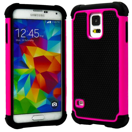 Mylife (Tm) Black And Vibrant Rose Pink - Free Flex Series (2 Layer Neo Hybrid) Slim Armor Case For The New Galaxy S5 (5G) Smartphone By Samsung (External Rubberized Hard Shell Flex Piece + Internal Soft Silicone Flexible Bumper Gel)