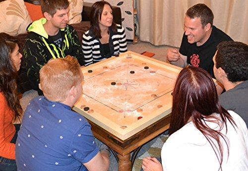 Garden-Games-Carrom-Board-83-cm-komplettem-Zubehr-Mangoholz-mit-Palisander-Details